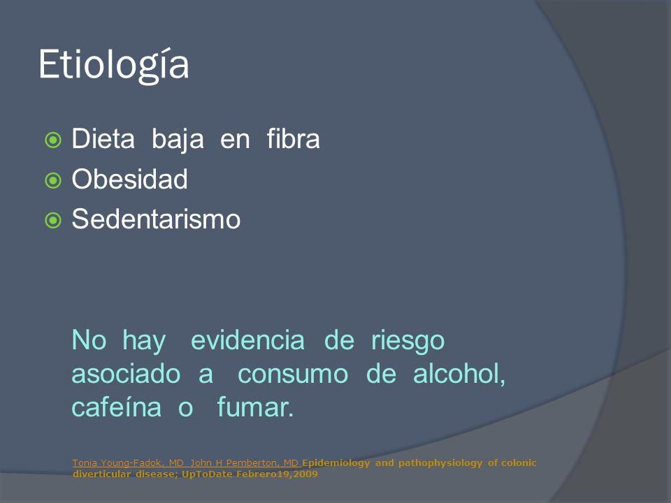 Etiología Dieta baja en fibra Obesidad Sedentarismo No hay evidencia de riesgo asociado a consumo de alcohol, cafeína o fumar. Tonia Young-Fadok, MD J