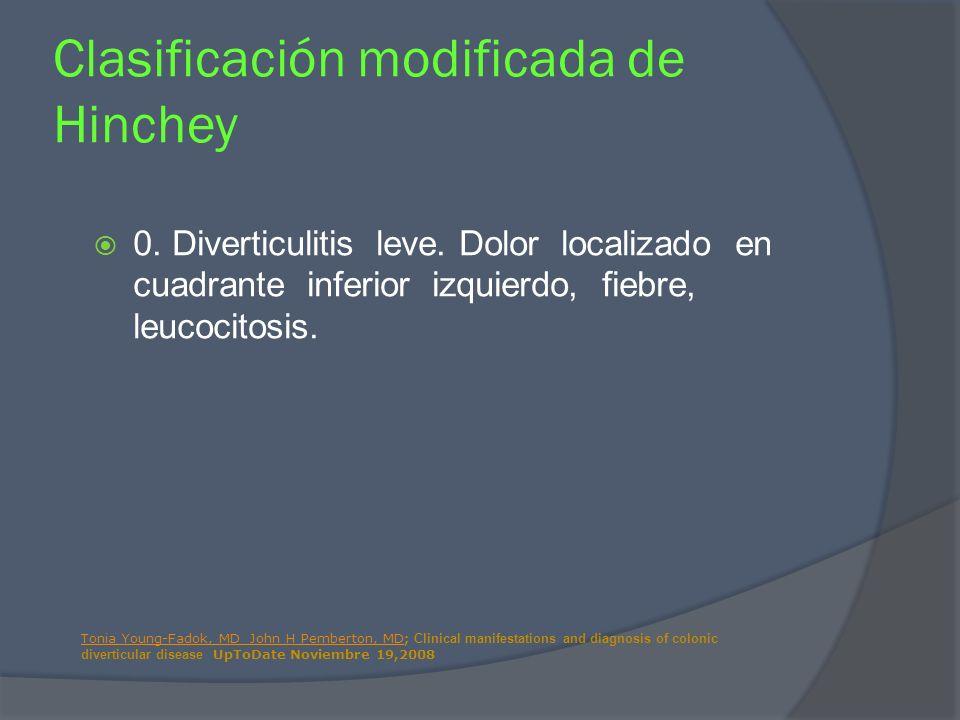 0. Diverticulitis leve. Dolor localizado en cuadrante inferior izquierdo, fiebre, leucocitosis. Clasificación modificada de Hinchey Tonia Young-Fadok,