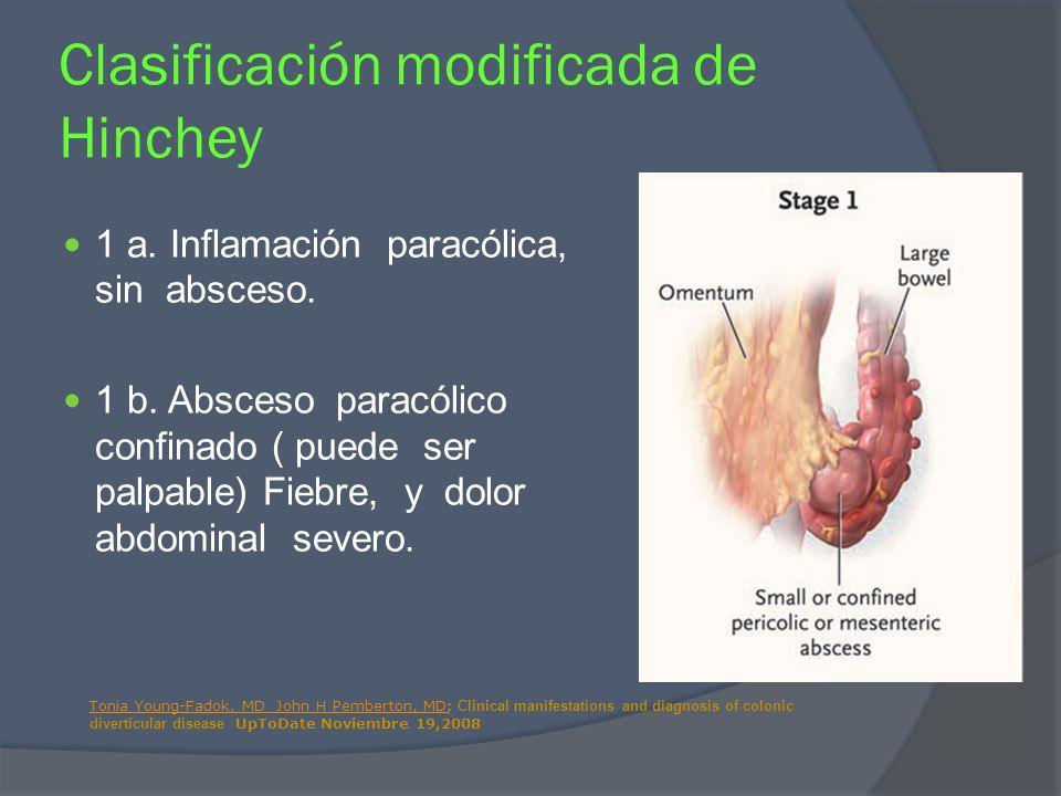 1 a. Inflamación paracólica, sin absceso. 1 b. Absceso paracólico confinado ( puede ser palpable) Fiebre, y dolor abdominal severo. Clasificación modi