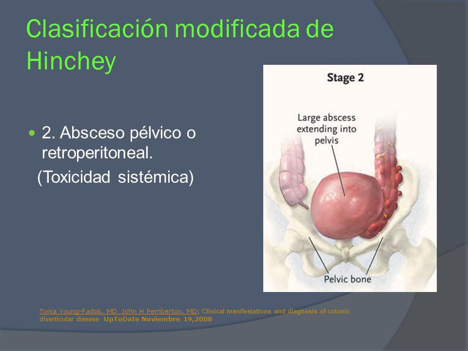 2. Absceso pélvico o retroperitoneal. (Toxicidad sistémica) Clasificación modificada de Hinchey Tonia Young-Fadok, MD John H Pemberton, MDTonia Young-