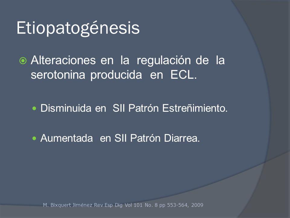 Etiopatogénesis Alteraciones en la regulación de la serotonina producida en ECL. Disminuida en SII Patrón Estreñimiento. Aumentada en SII Patrón Diarr