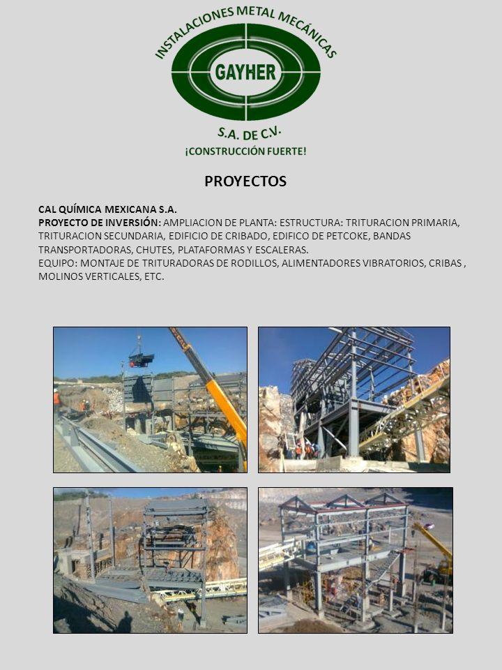 PROYECTOS CAL QUÍMICA MEXICANA S.A. PROYECTO DE INVERSIÓN: AMPLIACION DE PLANTA: ESTRUCTURA: TRITURACION PRIMARIA, TRITURACION SECUNDARIA, EDIFICIO DE