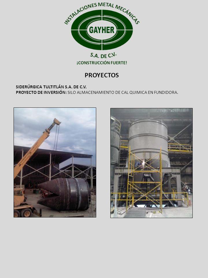 PROYECTOS SIDERÚRGICA TULTITLÁN S.A. DE C.V. PROYECTO DE INVERSIÓN: SILO ALMACENAMIENTO DE CAL QUIMICA EN FUNDIDORA.