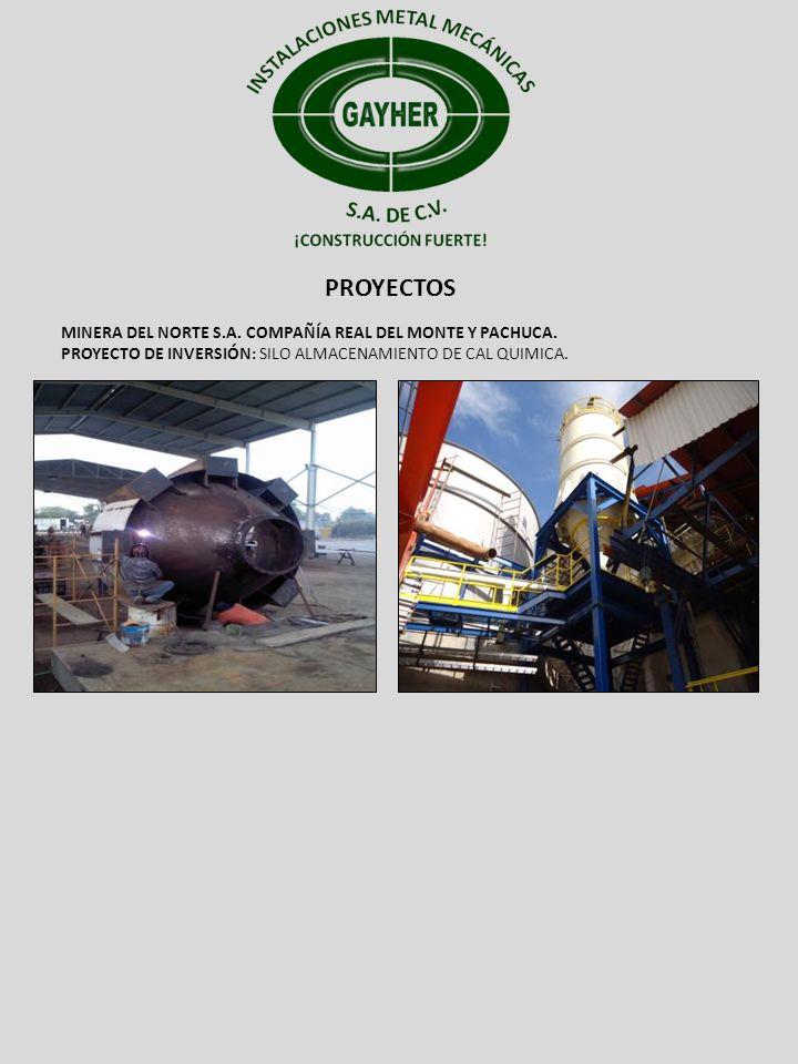 PROYECTOS MINERA DEL NORTE S.A. COMPAÑÍA REAL DEL MONTE Y PACHUCA. PROYECTO DE INVERSIÓN: SILO ALMACENAMIENTO DE CAL QUIMICA.
