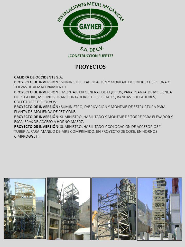PROYECTOS CALIDRA DE OCCIDENTE S.A. PROYECTO DE INVERSIÓN : SUMINISTRO, FABRICACIÓN Y MONTAJE DE EDIFICIO DE PIEDRA Y TOLVAS DE ALMACENAMIENTO. PROYEC