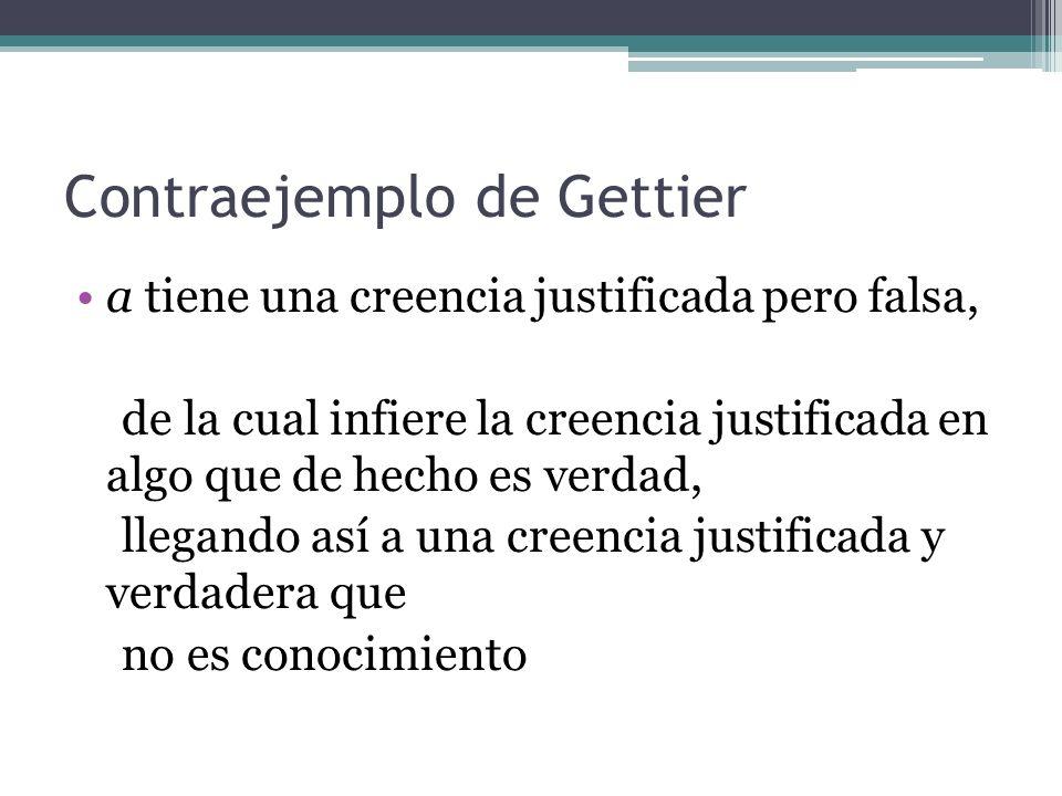 Contraejemplo de Gettier a tiene una creencia justificada pero falsa, de la cual infiere la creencia justificada en algo que de hecho es verdad, llega