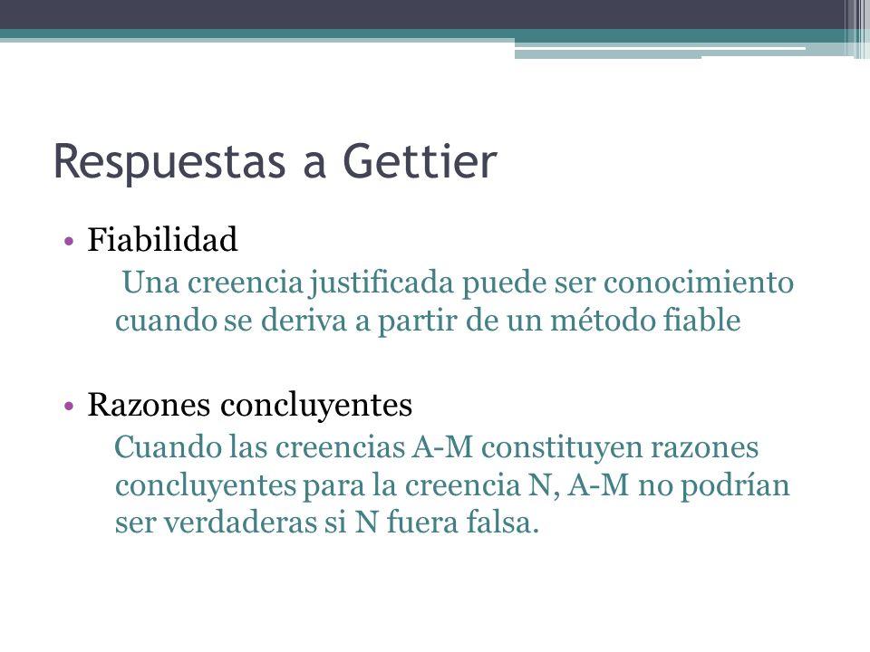 Respuestas a Gettier Fiabilidad Una creencia justificada puede ser conocimiento cuando se deriva a partir de un método fiable Razones concluyentes Cua