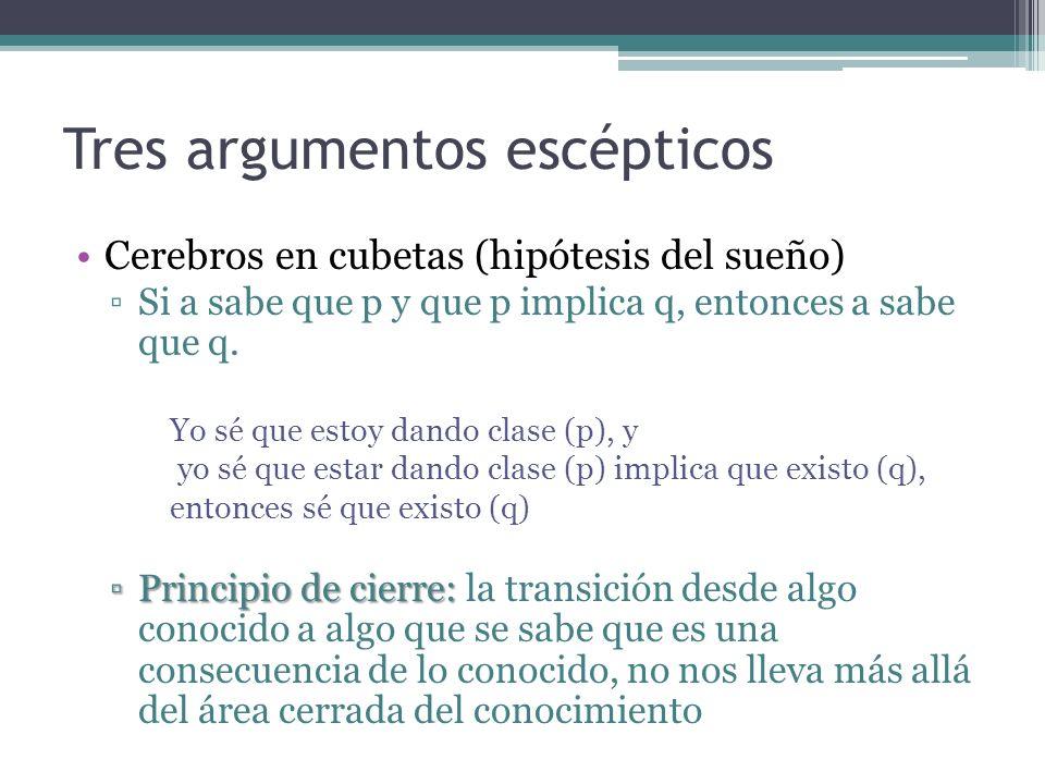 Tres argumentos escépticos Cerebros en cubetas (hipótesis del sueño) Si a sabe que p y que p implica q, entonces a sabe que q. Yo sé que estoy dando c