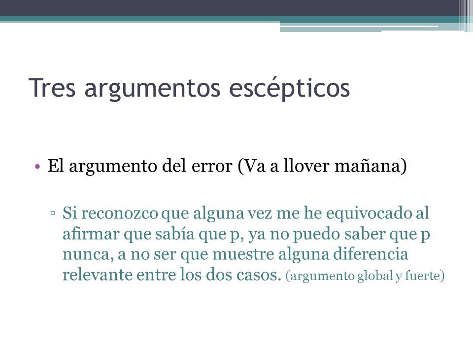 Tres argumentos escépticos El argumento del error (Va a llover mañana) Si reconozco que alguna vez me he equivocado al afirmar que sabía que p, ya no
