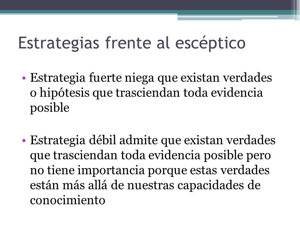 Estrategias frente al escéptico Estrategia fuerte niega que existan verdades o hipótesis que trasciendan toda evidencia posible Estrategia débil admit
