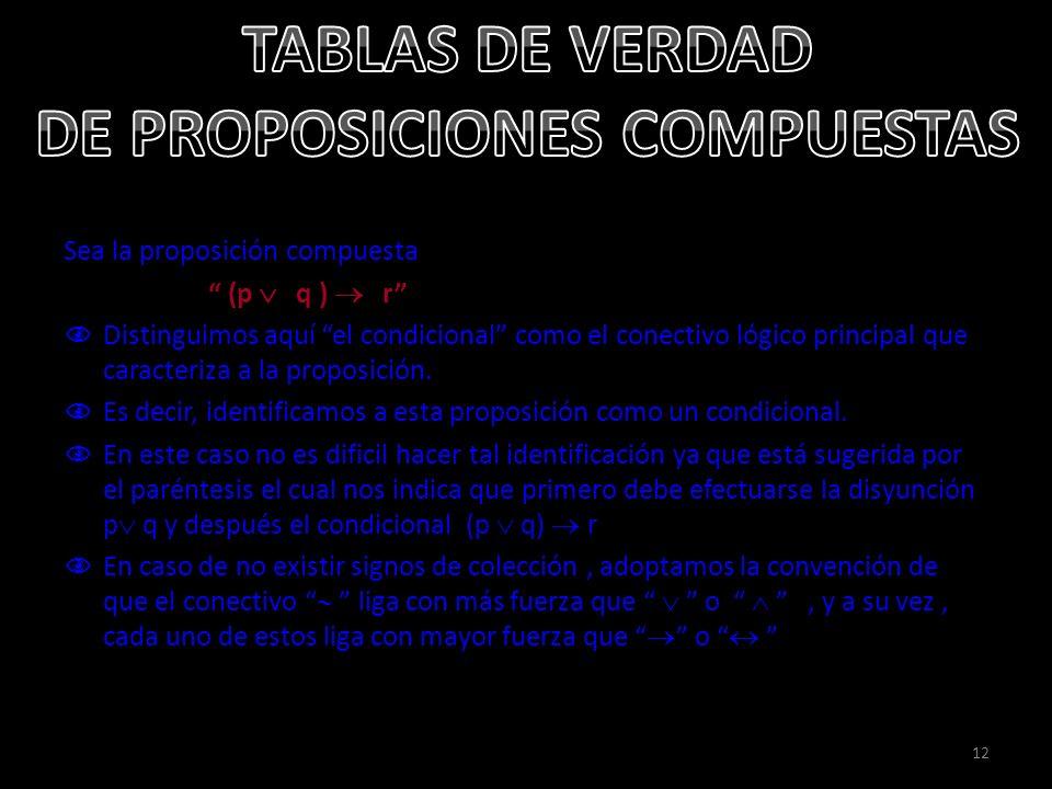 12 Sea la proposición compuesta (p q ) r Distinguimos aquí el condicional como el conectivo lógico principal que caracteriza a la proposición. Es deci