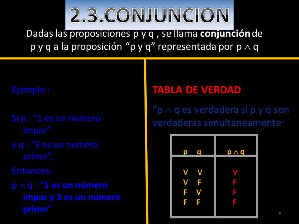 8 Dadas las proposiciones p y q, se llama conjunción de p y q a la proposición p y q representada por p q Ejemplo : Si p : 1 es un numero impar y q :