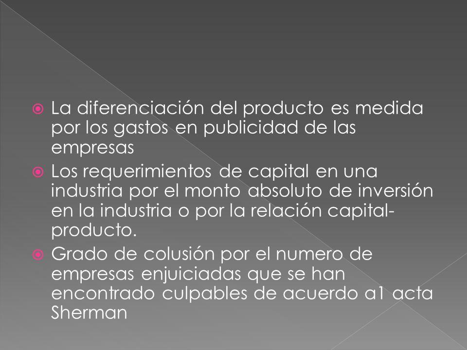 La diferenciación del producto es medida por los gastos en publicidad de las empresas Los requerimientos de capital en una industria por el monto absoluto de inversión en la industria o por la relación capital- producto.