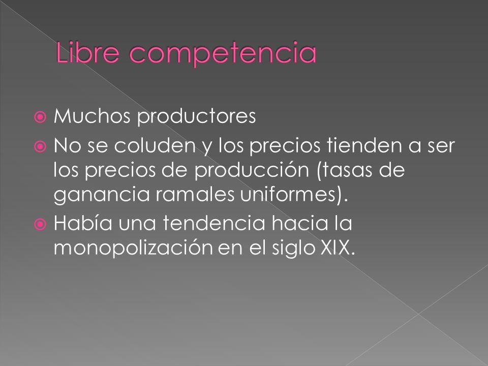 Muchos productores No se coluden y los precios tienden a ser los precios de producción (tasas de ganancia ramales uniformes).