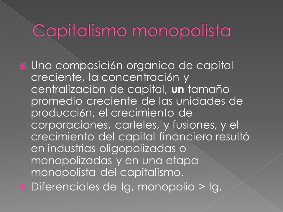 Una composici6n organica de capital creciente, la concentraci6n y centralizacibn de capital, un tamaño promedio creciente de las unidades de producci6n, el crecimiento de corporaciones, carteles, y fusiones, y el crecimiento del capital financiero resultó en industrias oligopolizadas o monopolizadas y en una etapa monopolista del capitalismo.
