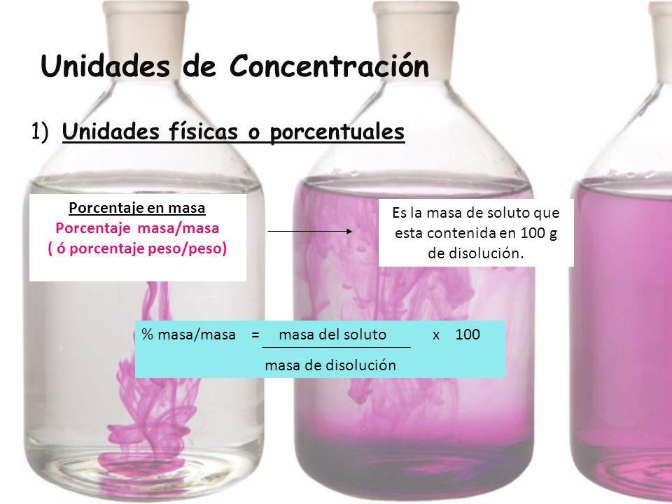 Unidades de Concentración 1) Unidades físicas o porcentuales % masa/masa = masa del soluto x 100 masa de disolución Porcentaje en masa Porcentaje masa