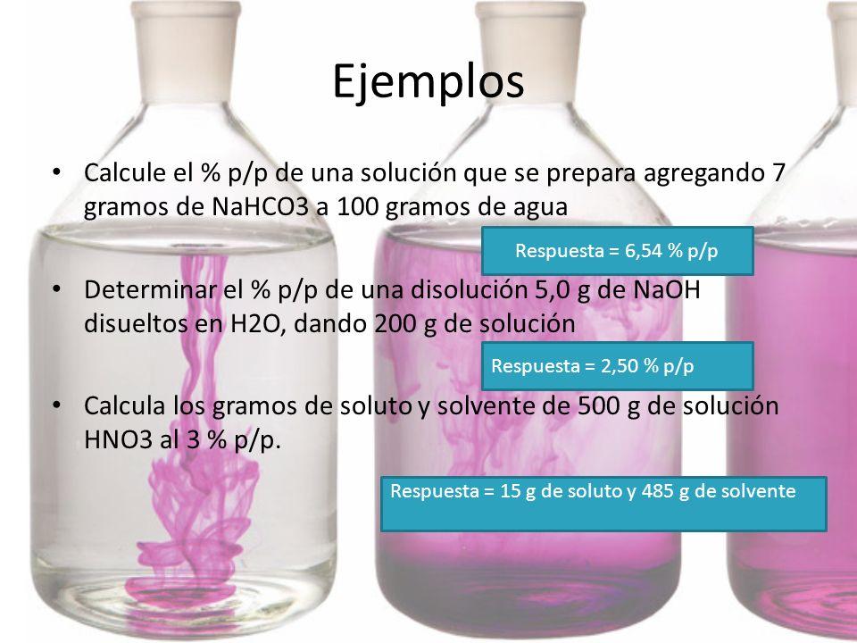 Ejemplos Calcule el % p/p de una solución que se prepara agregando 7 gramos de NaHCO3 a 100 gramos de agua Determinar el % p/p de una disolución 5,0 g