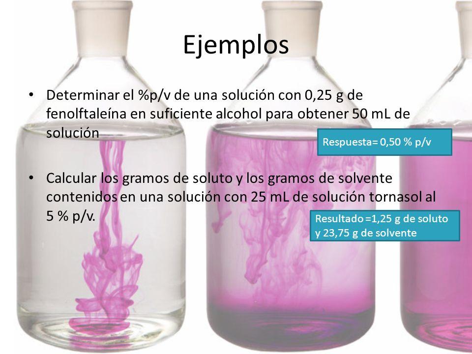 Ejemplos Determinar el %p/v de una solución con 0,25 g de fenolftaleína en suficiente alcohol para obtener 50 mL de solución Calcular los gramos de so