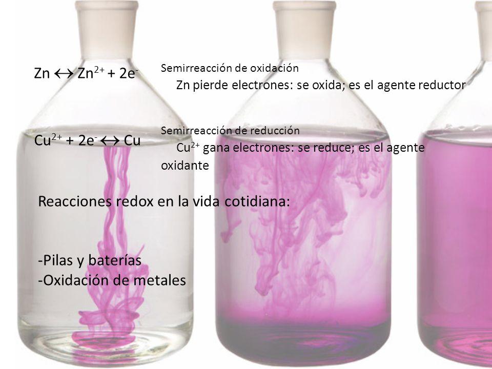 Semirreacción de oxidación Zn pierde electrones: se oxida; es el agente reductor Semirreacción de reducción Cu 2+ gana electrones: se reduce; es el ag