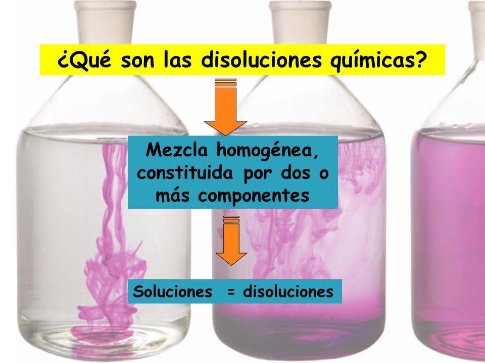 ¿Qué son las disoluciones químicas? Mezcla homogénea, constituida por dos o más componentes Soluciones = disoluciones