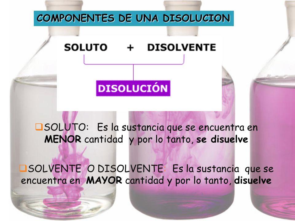COMPONENTES DE UNA DISOLUCION SOLUTO: Es la sustancia que se encuentra en MENOR cantidad y por lo tanto, se disuelve SOLVENTE O DISOLVENTE: Es la sust
