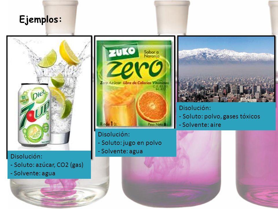 Ejemplos: Disolución: - Soluto: azúcar, CO2 (gas) - Solvente: agua Disolución: - Soluto: jugo en polvo - Solvente: agua Disolución: - Soluto: polvo, g