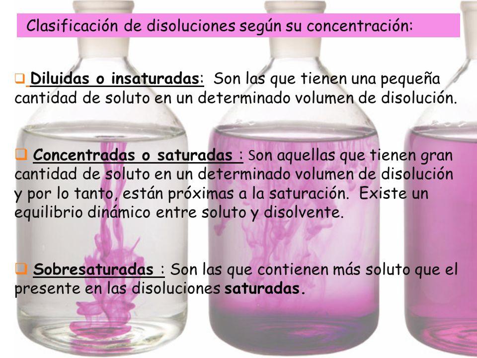 Diluidas o insaturadas: Son las que tienen una pequeña cantidad de soluto en un determinado volumen de disolución. Concentradas o saturadas : S on aqu