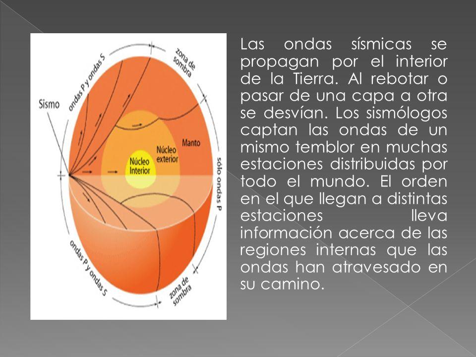 Las ondas sísmicas se propagan por el interior de la Tierra. Al rebotar o pasar de una capa a otra se desvían. Los sismólogos captan las ondas de un m