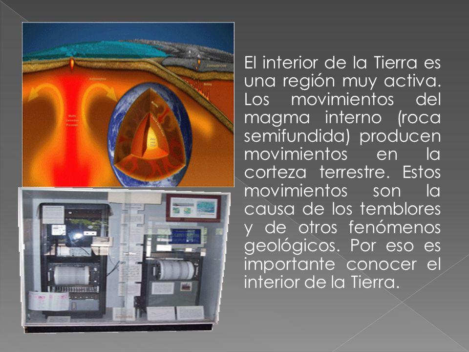 El interior de la Tierra es una región muy activa. Los movimientos del magma interno (roca semifundida) producen movimientos en la corteza terrestre.