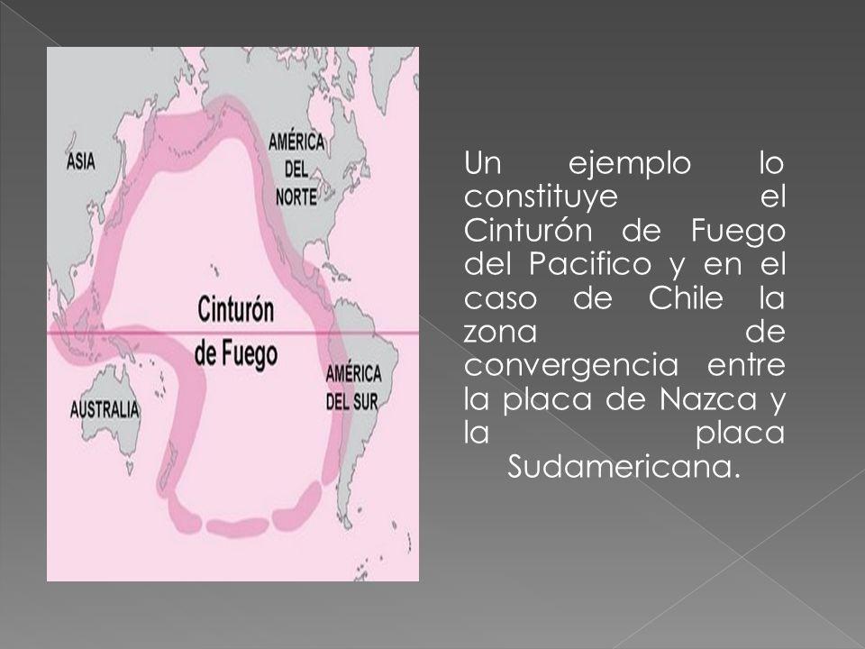Un ejemplo lo constituye el Cinturón de Fuego del Pacifico y en el caso de Chile la zona de convergencia entre la placa de Nazca y la placa Sudamerica