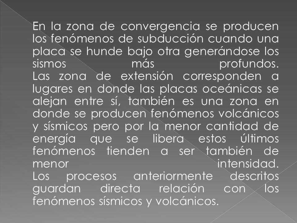 En la zona de convergencia se producen los fenómenos de subducción cuando una placa se hunde bajo otra generándose los sismos más profundos. Las zona