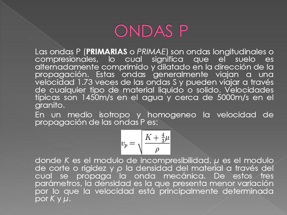Las ondas P ( PRIMARIAS o PRIMAE) son ondas longitudinales o compresionales, lo cual significa que el suelo es alternadamente comprimido y dilatado en