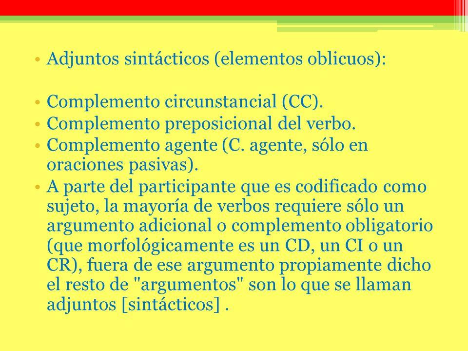Adjuntos sintácticos (elementos oblicuos): Complemento circunstancial (CC). Complemento preposicional del verbo. Complemento agente (C. agente, sólo e