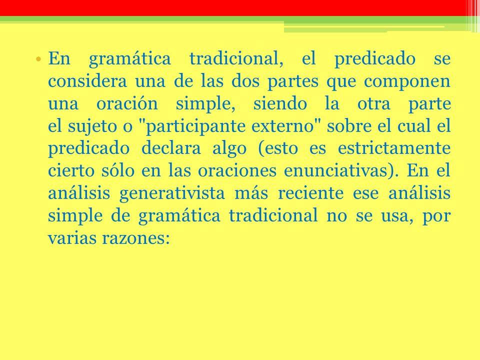 En gramática tradicional, el predicado se considera una de las dos partes que componen una oración simple, siendo la otra parte el sujeto o