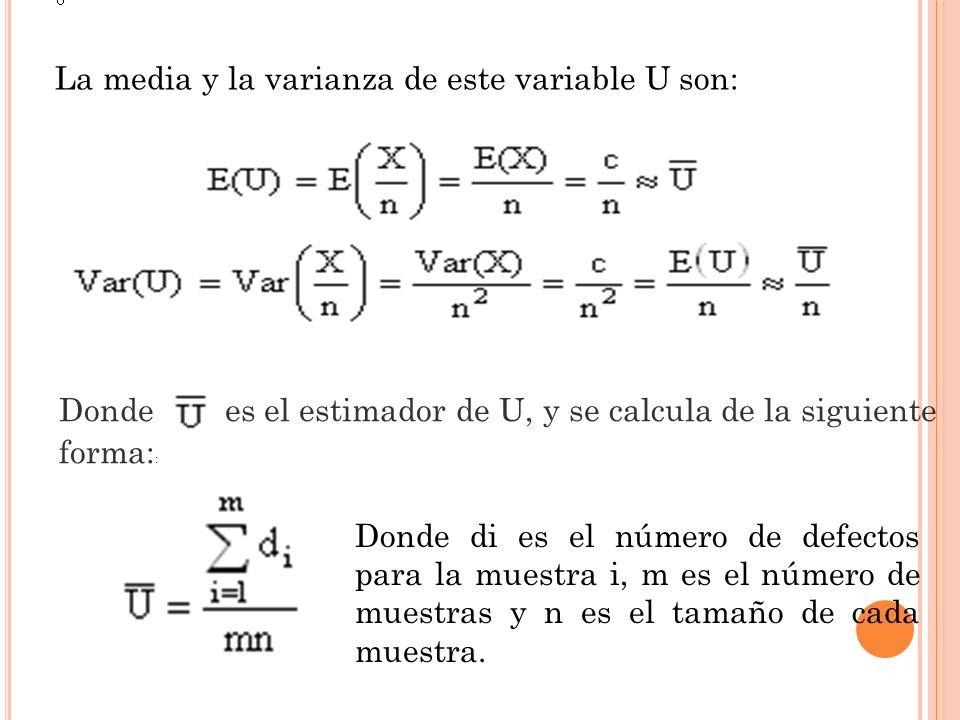 La media y la varianza de este variable U son: Donde es el estimador de U, y se calcula de la siguiente forma: : Donde di es el número de defectos par