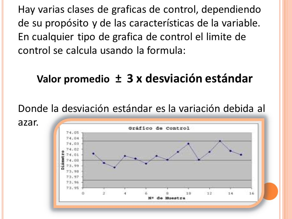 Hay varias clases de graficas de control, dependiendo de su propósito y de las características de la variable. En cualquier tipo de grafica de control