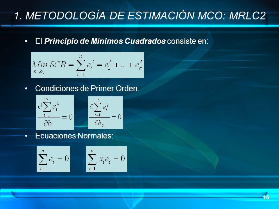 16 1. METODOLOGÍA DE ESTIMACIÓN MCO: MRLC2 El Principio de Mínimos Cuadrados consiste en: Condiciones de Primer Orden. Ecuaciones Normales: