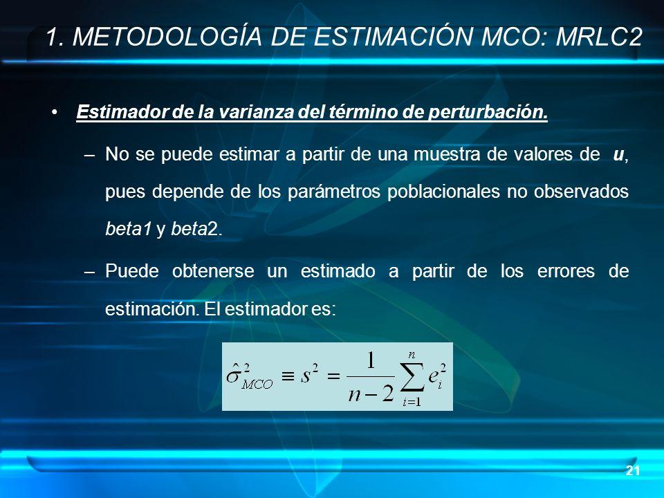 21 Estimador de la varianza del término de perturbación. –No se puede estimar a partir de una muestra de valores de u, pues depende de los parámetros