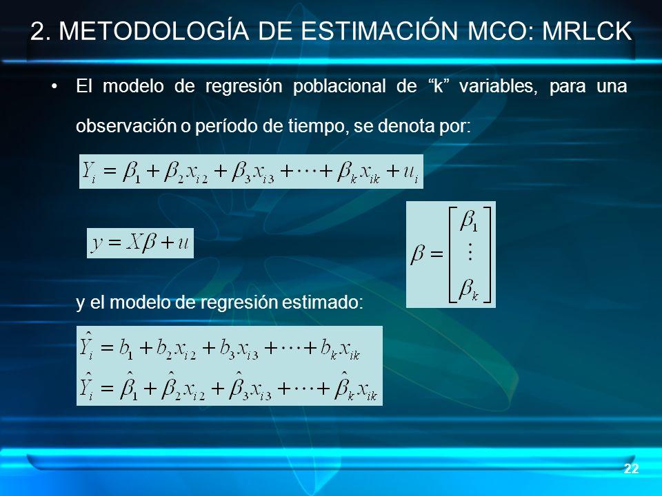 22 2. METODOLOGÍA DE ESTIMACIÓN MCO: MRLCK El modelo de regresión poblacional de k variables, para una observación o período de tiempo, se denota por: