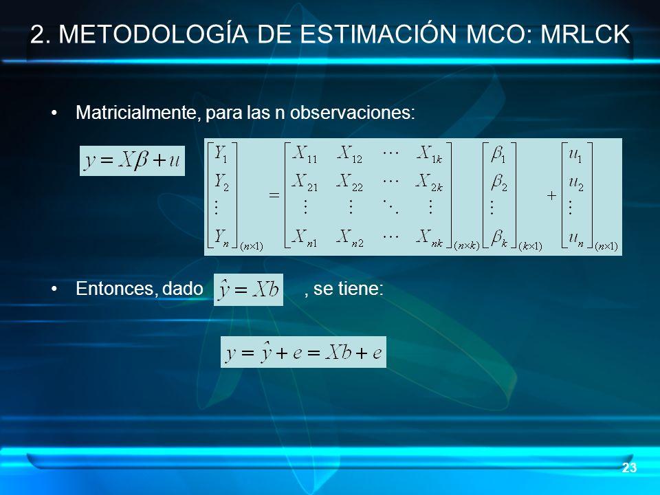 23 Matricialmente, para las n observaciones: Entonces, dado, se tiene: 2. METODOLOGÍA DE ESTIMACIÓN MCO: MRLCK