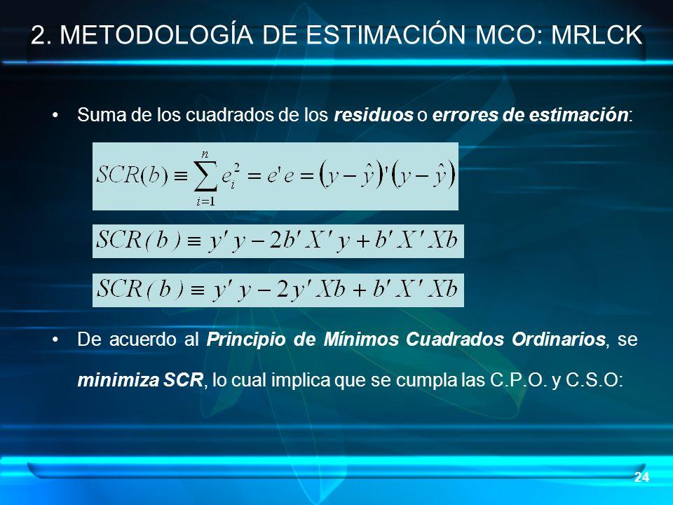 24 Suma de los cuadrados de los residuos o errores de estimación: De acuerdo al Principio de Mínimos Cuadrados Ordinarios, se minimiza SCR, lo cual im