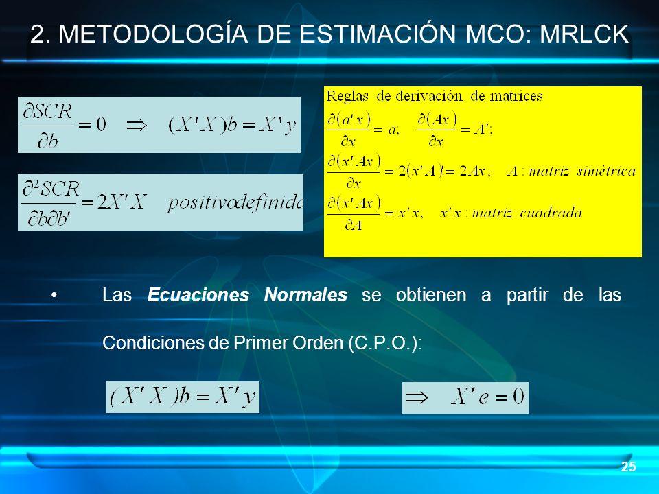 25 Las Ecuaciones Normales se obtienen a partir de las Condiciones de Primer Orden (C.P.O.): 2. METODOLOGÍA DE ESTIMACIÓN MCO: MRLCK