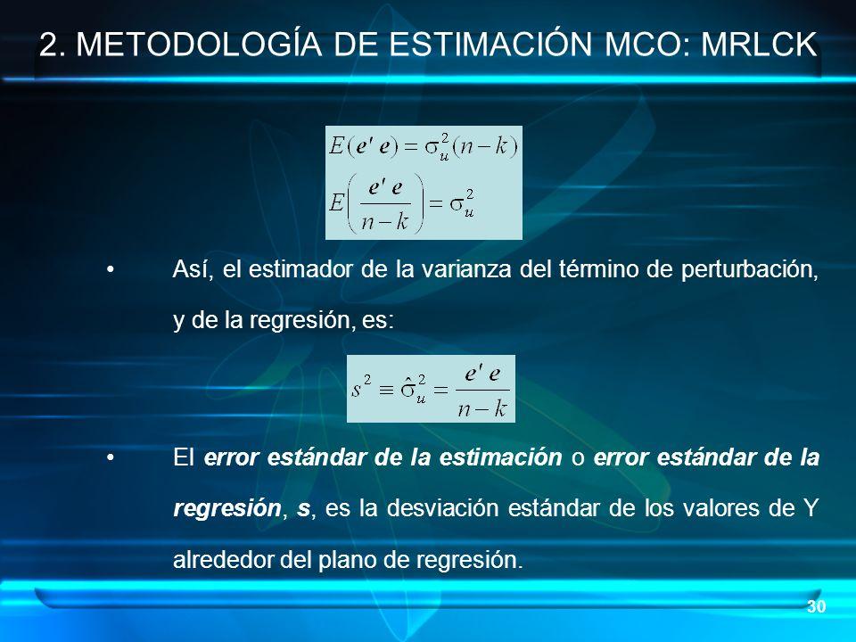 30 Así, el estimador de la varianza del término de perturbación, y de la regresión, es: El error estándar de la estimación o error estándar de la regr