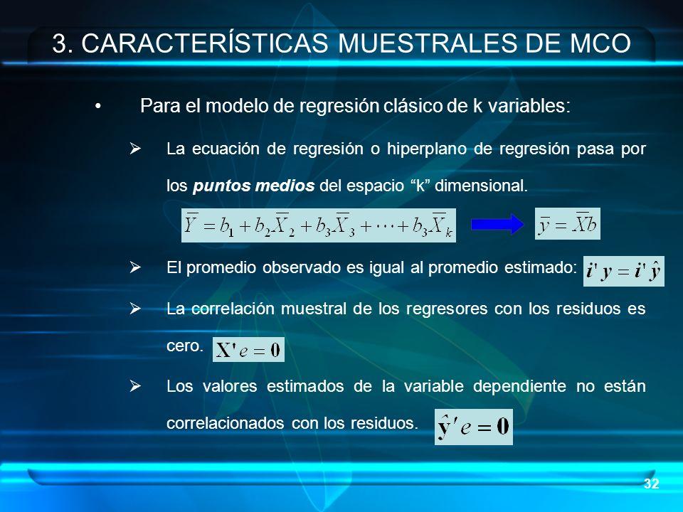 32 Para el modelo de regresión clásico de k variables: La ecuación de regresión o hiperplano de regresión pasa por los puntos medios del espacio k dim