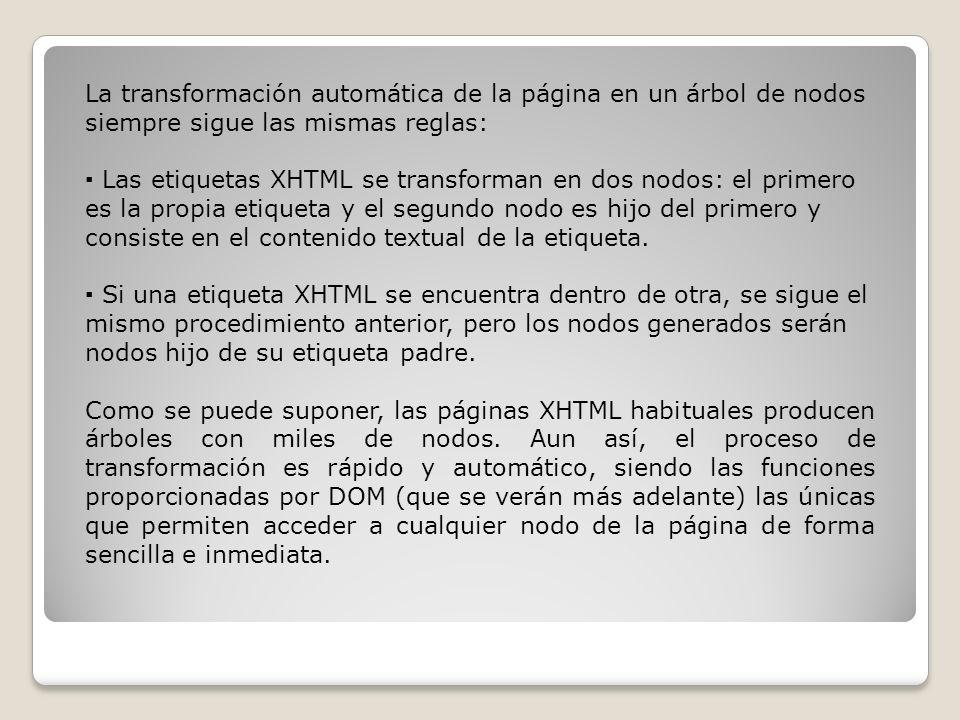 La transformación automática de la página en un árbol de nodos siempre sigue las mismas reglas: Las etiquetas XHTML se transforman en dos nodos: el primero es la propia etiqueta y el segundo nodo es hijo del primero y consiste en el contenido textual de la etiqueta.