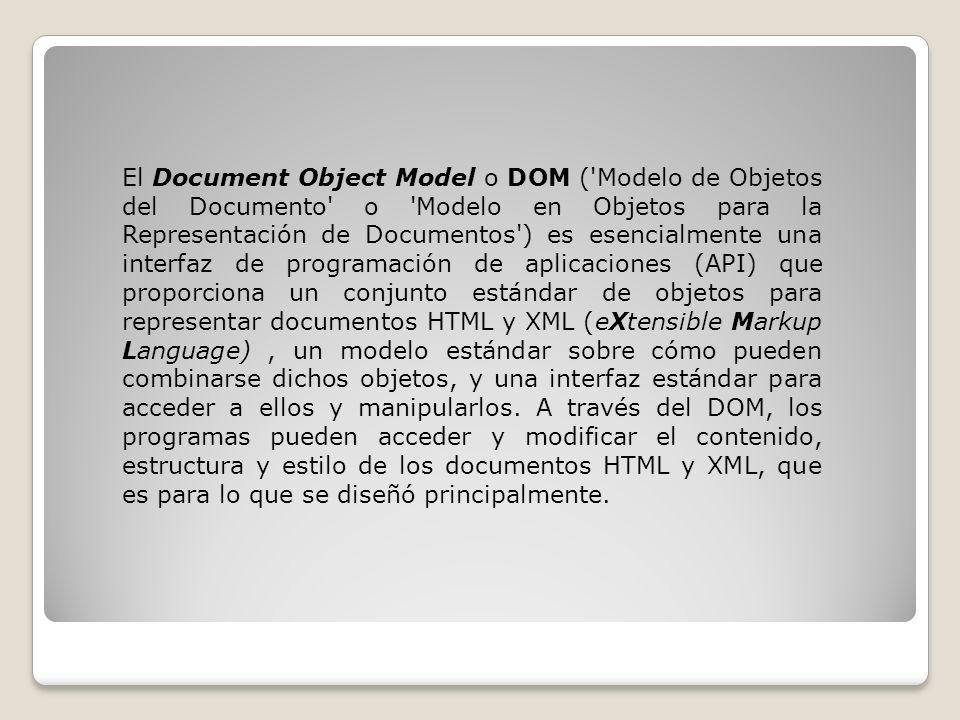 El Document Object Model o DOM ( Modelo de Objetos del Documento o Modelo en Objetos para la Representación de Documentos ) es esencialmente una interfaz de programación de aplicaciones (API) que proporciona un conjunto estándar de objetos para representar documentos HTML y XML (eXtensible Markup Language), un modelo estándar sobre cómo pueden combinarse dichos objetos, y una interfaz estándar para acceder a ellos y manipularlos.