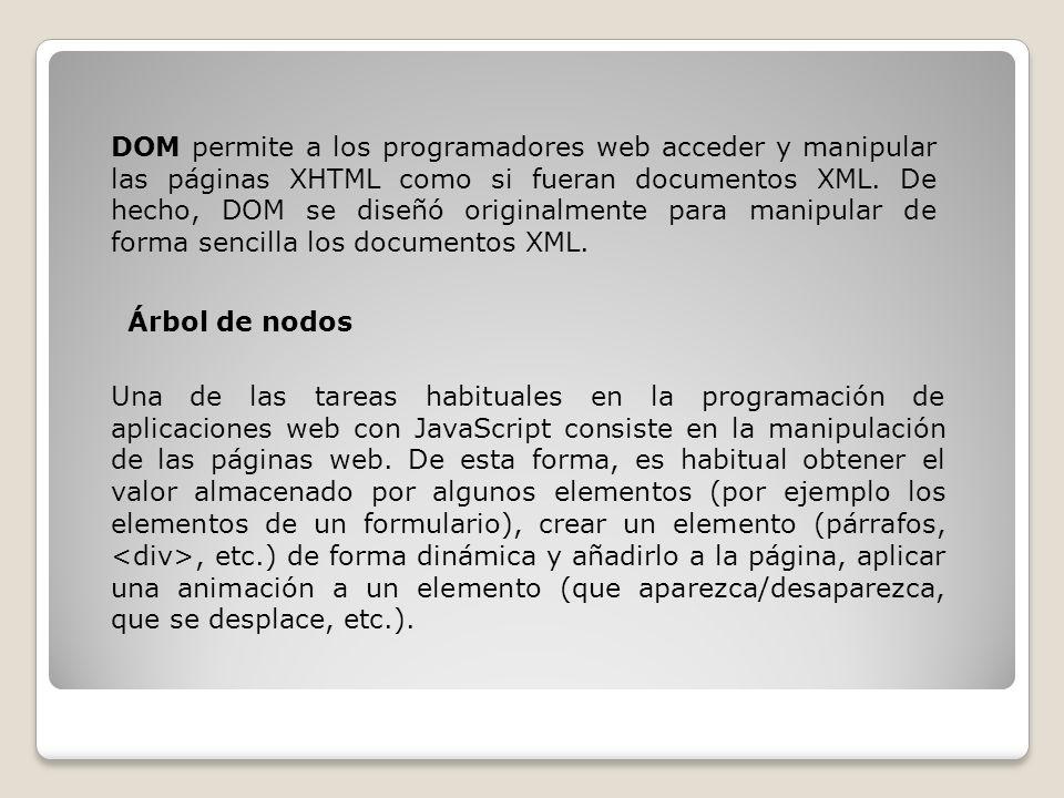 DOM permite a los programadores web acceder y manipular las páginas XHTML como si fueran documentos XML.
