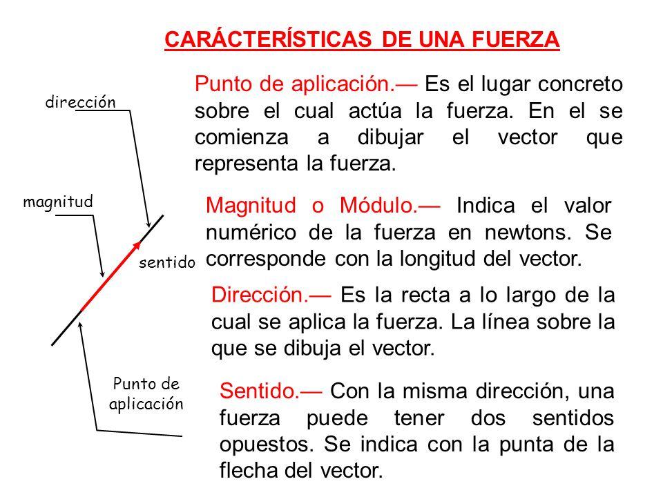 CARÁCTERÍSTICAS DE UNA FUERZA Punto de aplicación.