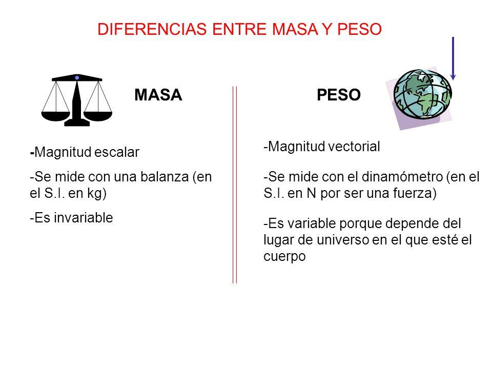 DIFERENCIAS ENTRE MASA Y PESO MASAPESO -Magnitud vectorial -Magnitud escalar -Se mide con una balanza (en el S.I.