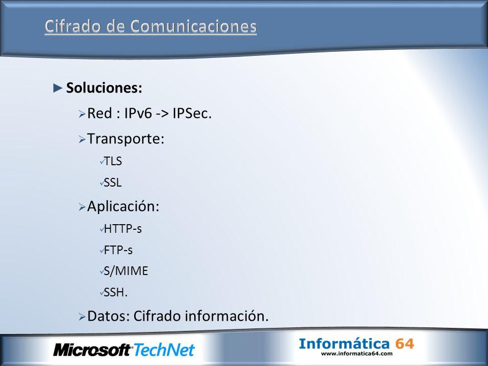 Soluciones: Red : IPv6 -> IPSec. Transporte: TLS SSL Aplicación: HTTP-s FTP-s S/MIME SSH. Datos: Cifrado información.